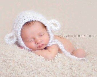 Fluffy Ivory mohair spring lamb bonnet. Choose your size. Great photo prop. Uk seller