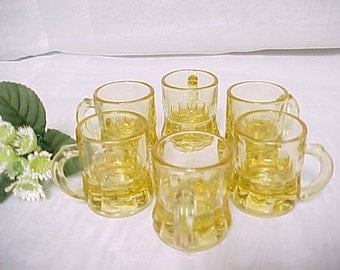 Vintage Honey Amber Handled Shot Glasses, 6 Fun Colored Barware Shooters, Collectible Glass Miniature Beer Mug, Federal Glass Toy Mugs