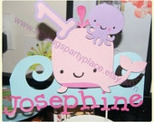 Girl Under the Sea, Girl Sea Creature, Girl Birthday Pary -- personalized SMASH CAKE TOPPER