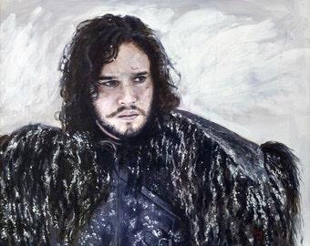 Original Acrylic Painting - Game of Thrones, Jon Snow Portrait