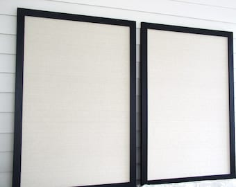MAGNETIC BULLETIN BOARDS - Pair of Office Memo Boards 26.5 x 38.5 in Natural Taupe Unbleached Cotton and Handmade Black Hardwood Frames