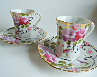 2 Expresso Teacup and Saucer  Vintage Demi Tasse Tea Cup Rose Japan
