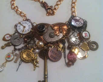 STEAMPUNK BUTTON Necklace addictive Reinvented Vintage Objects Owl Watch parts gears typewrite key french enamel Heart Key and more