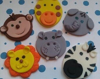 Jungle Safari Boy Edible Cupcake Toppers - Set of 12