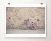 pink bicycle photograph pink bike photograph pink bicycle print cambridge photograph travel photography pink bike print