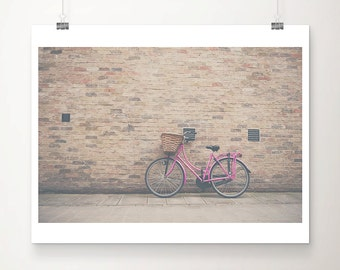 pink bicycle photograph pink bike photograph pink bicycle print cambridge photograph travel photography pink bike print