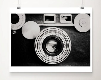 vintage camera photograph black and white photography vintage camera print lens photograph minimalist decor vintage camera art