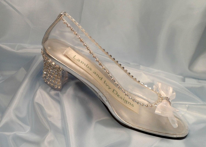 Glass Slipper Cinderella Shoes Crystal Heels By Lambsandivydesigns