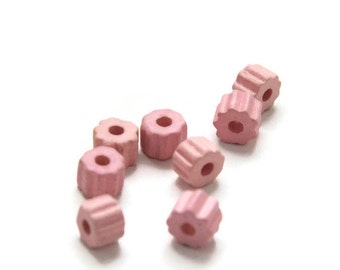 Greek Ceramic Gear Beads, Pink Large Gear Beads 8x6mm- 6 pcs C 10 293