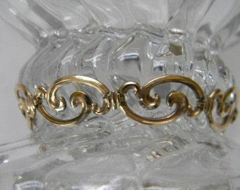 Bracelet, Vintage WRE Swirl Link GF/GP Bracelet