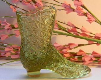 FENTON Green Glass Boot
