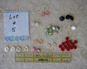 HALF PRICE -Lot #5 Buttons VINTAGE assortment for doll sewing, children 3/8 inch 1/2 inch