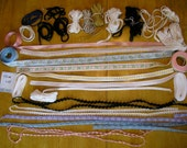 HUGE TRIM LOT for doll sewing - whip stitch piping, embroidered ribbon, cording, soutache - yards of wide variety of trimmings embroidered