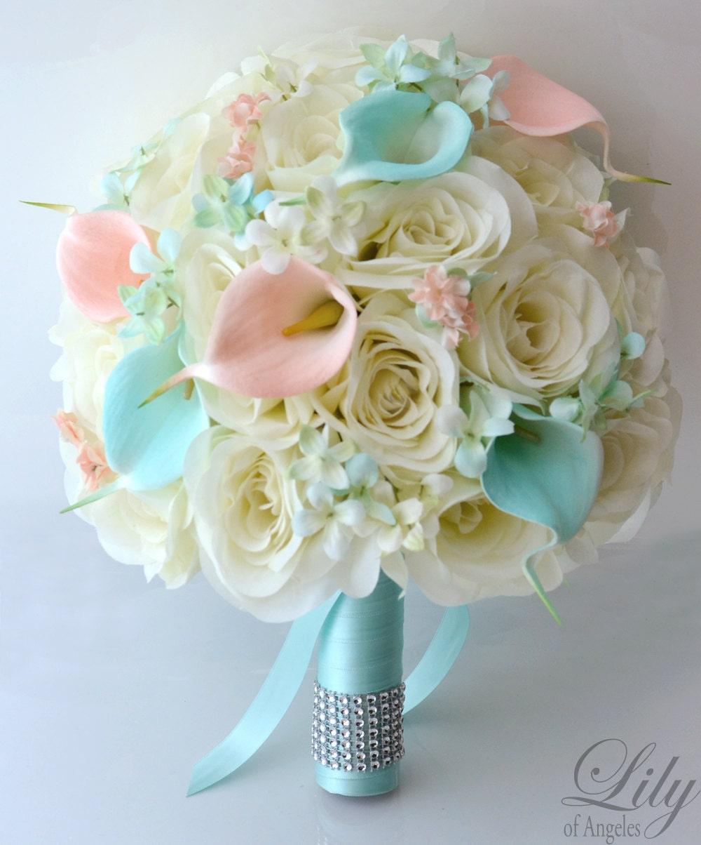 bridal bouquet silk flower 17 piece package wedding bride. Black Bedroom Furniture Sets. Home Design Ideas