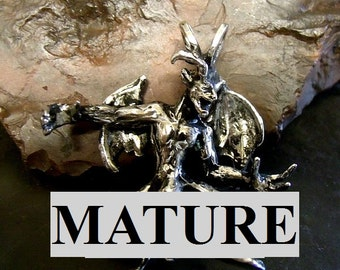 Mature Erotic Male Gargoyle Pendant With Big Penis   Solid Sterling Silver Free Domestic Shipping