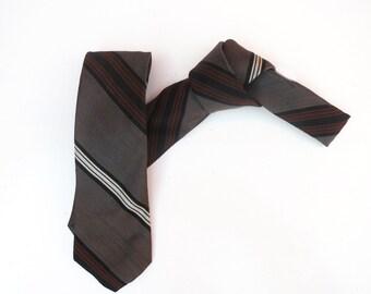 Vintage 1950s 1960s Mod Skinny Neck Tie - Black Grey Brown White Diagonal Stripes
