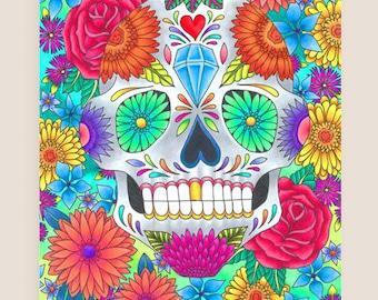 11x14-in Sugar Skull Illustration Print.