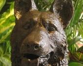 Large Sitting Up Black German Shepherd Statue