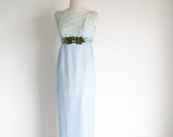 Vintage 60s Blue Gown, 1960 Empire Waist Formal Gown, Reception Party Dress, Ice Blue Gown
