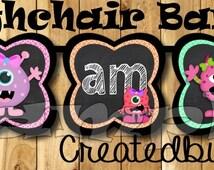 I am one Birthday Banner girl Monster High chair banner Monster banner 1st Birthday garland monster decoration chalkboard sign Chalk decor