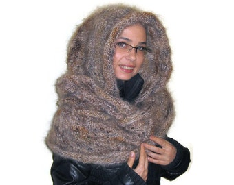 Mohair Infinity Hooded Scarf Hand Knitted by Solandia. Scarf with Hood, brown beige, caramel, neutral, christmas gift