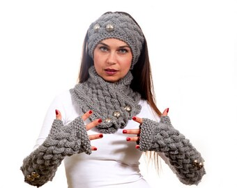 Made to Order - Knitted Scarf, Long Fingerless Gloves and a Headband Hand Knit Set in Grey by Solandia, Winter Fashion, Custom knitting