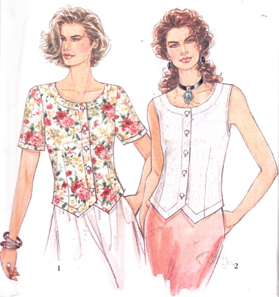 Womens Sewing Pattern Button Down Vest Or Short Sleeve Shirt