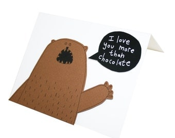 Bear Valentine Card, I Love You More Than Chocolate Card, I Love You Card, Blank Card For Chocolate Lover, Bear Greeting Card, Poosac