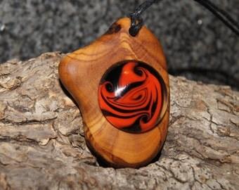 Olive wood & borosilicate glass pendant