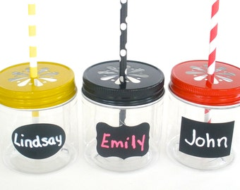 "Kids Cups Plastic Mason Jars 8oz w/ ""FREE"" Chalkboard Labels / Kids Cups / 12 Plastic Jars, 12 Daisy Cut Jar Lids & 12 Labels"