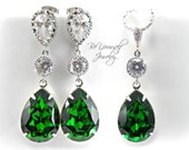 Emerald Green Earrings Necklace Set Swarovski Crystal Dark Moss Teardrop Jewelry Set Sterling Silver Bridal Bridesmaid Gift Wedding Jewelry