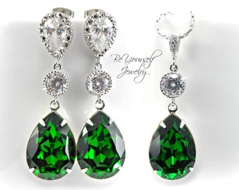 Emerald Bridal Earrings Green Teardrop Bride Necklace Swarovski Crystal Dark Moss Wedding Jewelry CZ Green Bridesmaid Gift Sterling Earrings