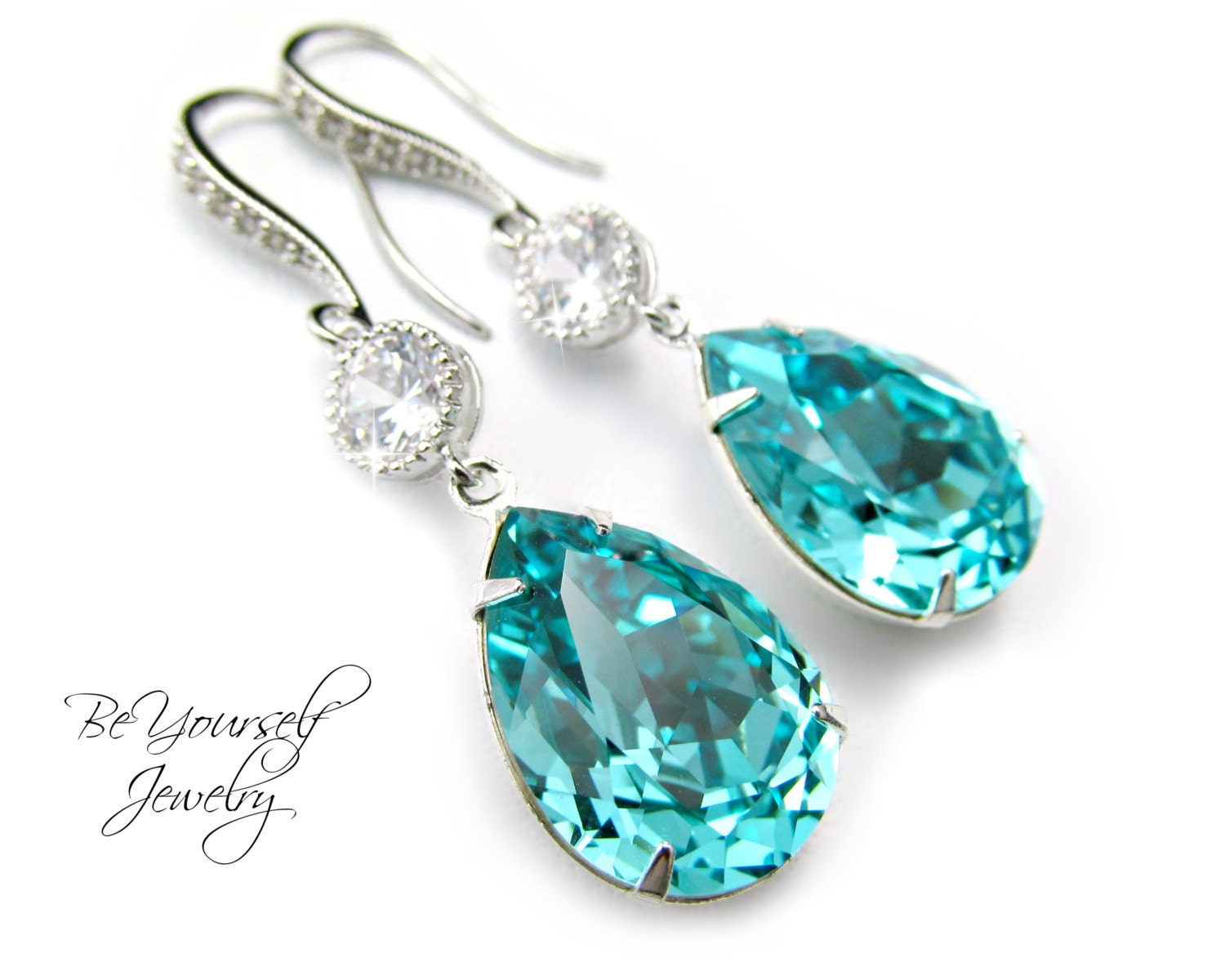teal blue bridal earrings sea green teardrop earrings