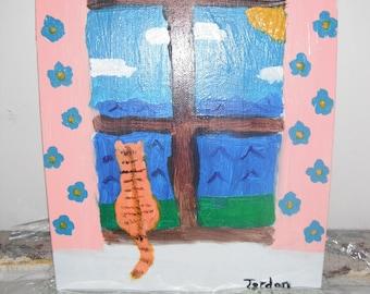 Orange Cat in Window original Acrylic Painting - 8x10 canvas panel