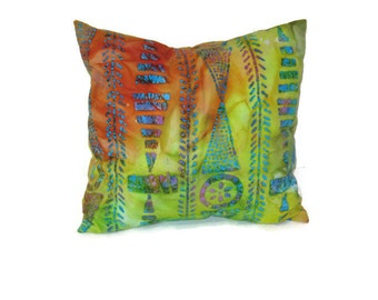 Orange Green Multi Print Batik Pillow Cover Boho Gypsy  Tribal Decorative