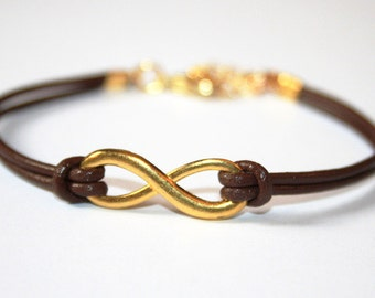 Eternity Infinity Leather Bracelet brown goldcolored - friendship forever twin sister best friend besties bff daughter gift