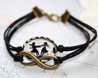 Dancing Sisters Silhouette Waxed Cord Bracelet black bronzecolored - twin sister best friend daughter mother jewelry friendship gift