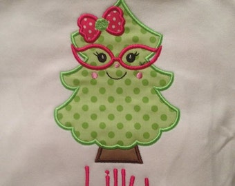 Cute Christmas Tree Custom boutique appliqued monogrammed personalized, boys, girls, T-shirt, one piece w/snaps, valentines,