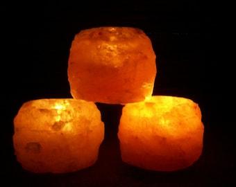 "Himalayan Salt Light Tea Light Candle Holder 4""x3"" Pink Salt Ionic Meditation Crystal Healing Zen Decor Feng Shui XLg Lamp 18lb 12x8"""