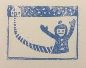 Holiday cards--Snow day--handmade linocut notecard with envelope