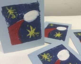 Christmas card--Santa and Stars on blue card stock--