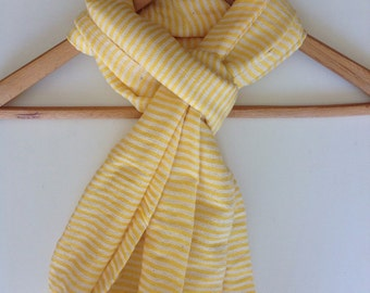 buttercup Yellow cotton scarf-Scarf- Buttercup Yellow & creme Ticking Nautical Stripe scarf- yellow handwoven Ethiopian scarves shawl wrap.