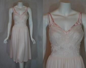 1950s Gotham Gold Pink Nightgown, 36, Medium, Waltz Style