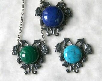 Turquoise, Malachite, Lapis Lazuli Cabochon Silver Heart Vine and Flowers Necklace