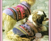 PDF Knitting Pattern for 2 Cosy Fair Isle Jacket/Coats for Dogs - Instant Download