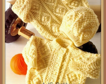 """PDF Knitting Pattern for Aran Cardigan, Sweater & Hat to fit 16 to 22"""" - Instant Download"""