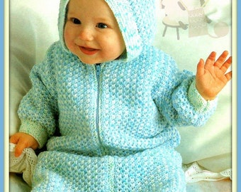 PDF Knitting Pattern for a Cozy Babies Zip Up Sleeping Bag or Cocoon - Instant Download