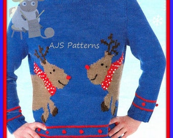 PDF Knitting Pattern for a Fun Reindeer Christmas Festive Aran Sweater - Instant Download