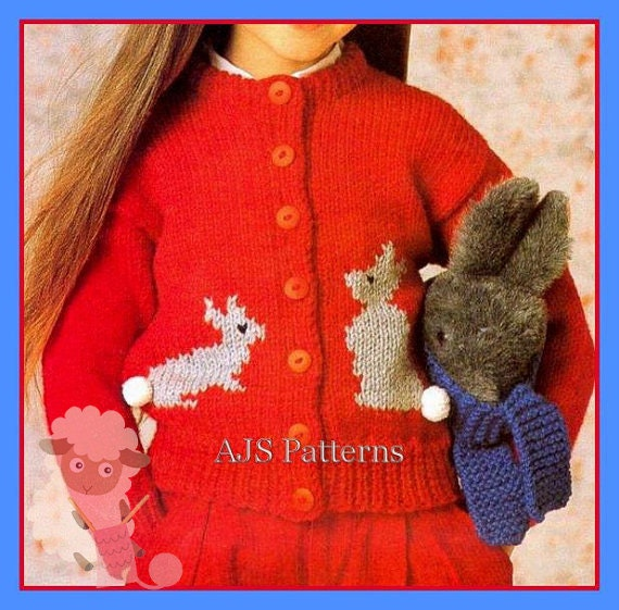 PDF Knitting Pattern for a Childs Chunky Knit Cardigan