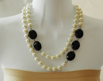 SALE - Bib Necklace, Pearl Necklace, Layered Necklace, Black and White Necklace, Gift for her, Everyday use